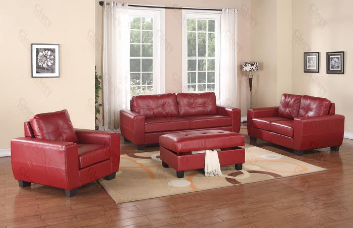 Red Sofa & Love Seat ,Glory Furniture Specials