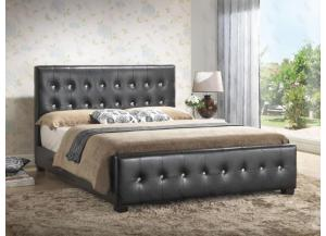Upholstered Panel Bed Black (Queen, Full, or Twin)